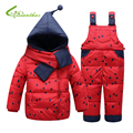 Down Jacket Winter Children's Clothing Set Kids Ski Suit Overalls Baby Girls Polka Dot Down Coat Warm Snowsuits Jacket+Bib Pants