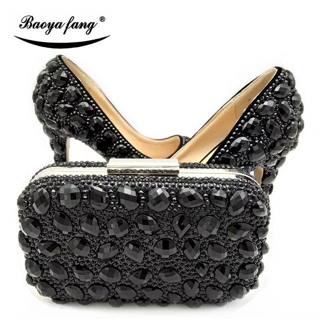 02d3c5a37 Las mujeres zapatos de fiesta con bolso conjuntos de cristal negro zapatos  de tacón alto zapatos