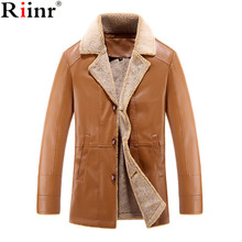 Riinr 2017 New Winter Thick Leather Garment Men's Business Casual Leather Jacket Lapel Cashmere Lined High Quality Warm PU Coat
