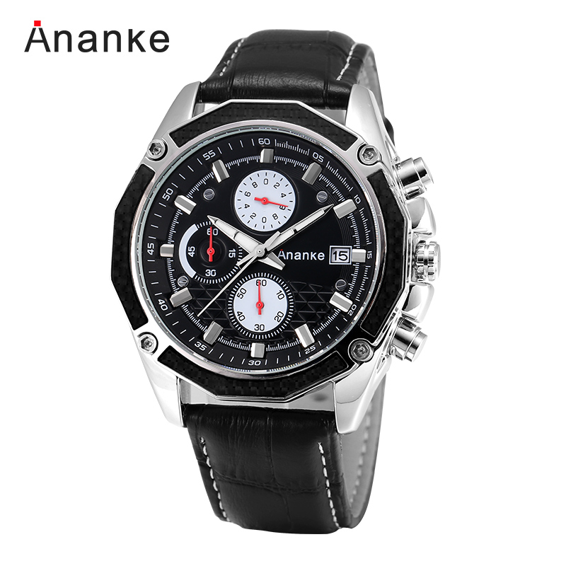2017 Ananke Brand Military Sport Men Watches Top Brand Luxury Business Quartz-watch Leather Male Wristwatch Relogio Masculino  julius top brand luxury men watch leather business quartz wristwatch sport military male boys watches relogio masculino montre