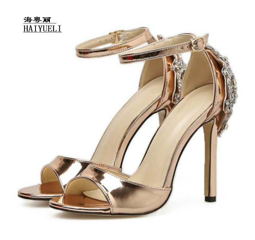 Top Product Women Shoes Handmade Shoes Custom Silk Side Hand Sew Rhinestones Peep-toe Ankle Strap Thick High-heeled Sandals Wome