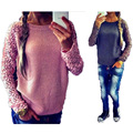 2017 New Europe Fashion Star Hot Plus Size Sweater Lace Hook Flower Hollow Out Sleeve Autumn Women Sweater 4 Color 8 Size S-5XL