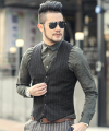 Men vertical stripes Suit Vest Fashion Male Slim grey Woolen Single breasted Vintage vest Mens brand Sleeveless Jacket Waistcoat
