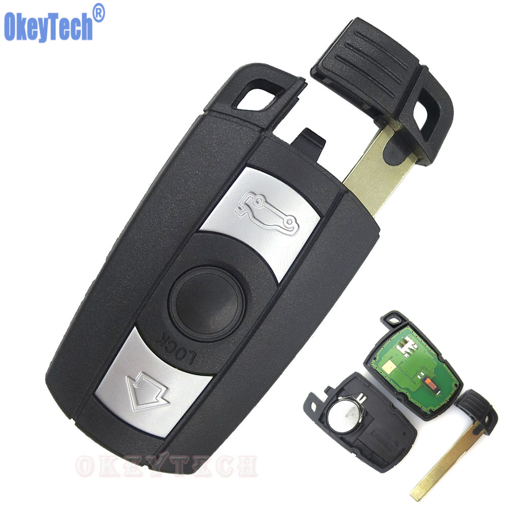 OkeyTech 3 Buttons Car Smart Remote Key Card For BMW 3 5 Series 315/315LP/433/868 MHZ with ID46 PCF7945 Chip Keyless Entry Fob цены