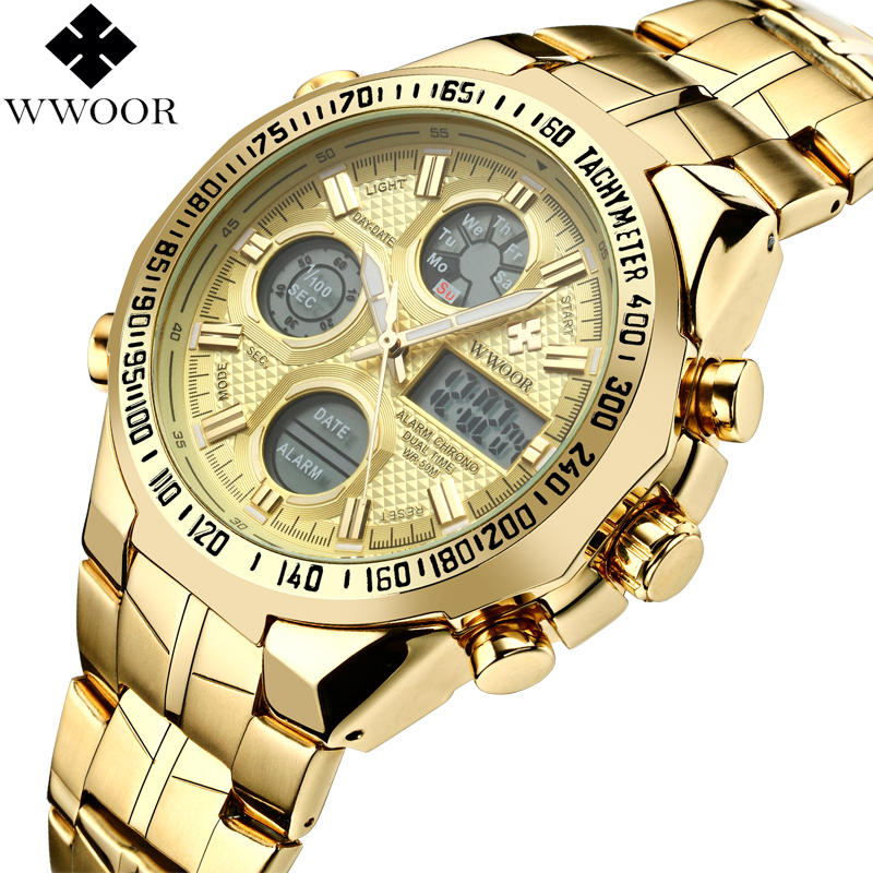 Top Brand Luxury Men Military Sports Watches Men Quartz Analog Digital LED Gold Watch Male Dual Display Clock relogio masculino new listing men watch luxury brand watches quartz clock fashion leather belts watch cheap sports wristwatch relogio male gift