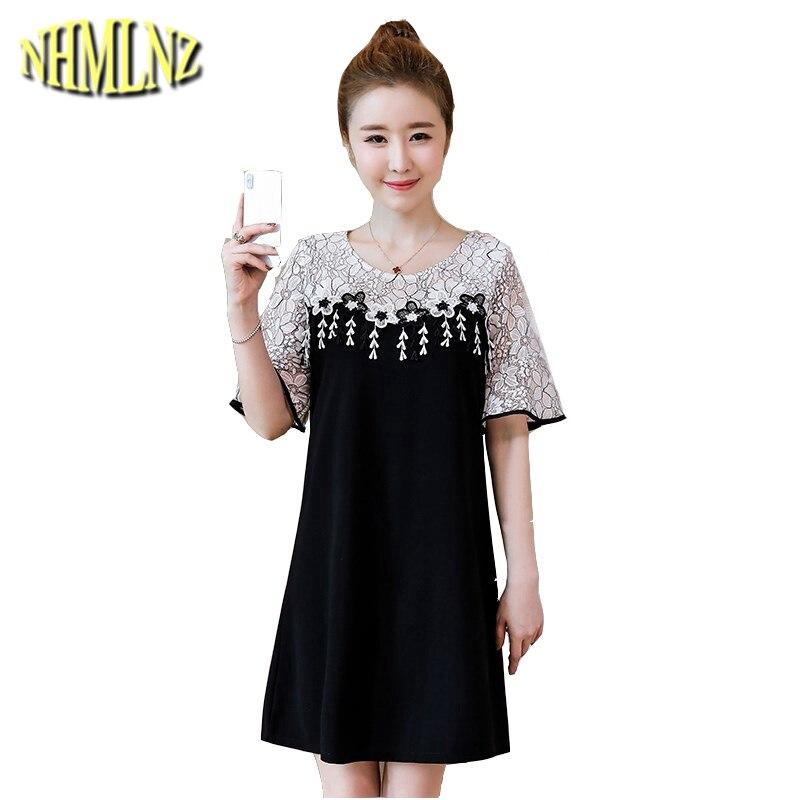 Women's Clothing 2019 Summer New Women Dress Fashion Slim Casual Females Vestido Lace Patchwork Dress Elegant Large Size Dresses Korean Wun1403 Promote The Production Of Body Fluid And Saliva