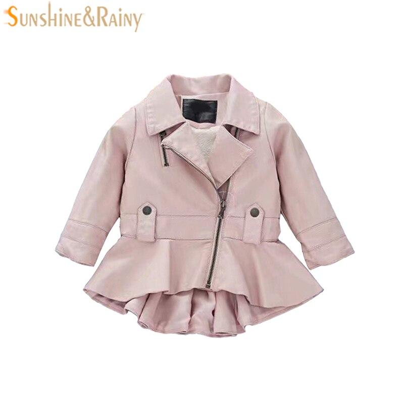 Обувь для девочек весеннее пальто Модная кожаная куртка для детей Обувь для девочек из искусственной кожи куртка на молнии платье Стиль Кур...