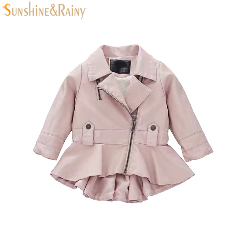 Girls Spring Coat Fashion Kids Leather Jacket Girls PU Zipper Jacket Dress Style Baby Girl Jackets And Coats Children Clothes