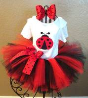 Retail Girl Sets Lady Bug T Shirts 2 Layer TUTU Skirt Headband Stage Performance Clothing 2pcs