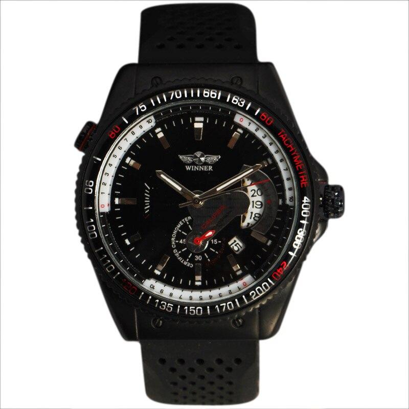 2016 WINNER Luxury Automatic Self-Wind Wristwatch Tachymeter Case Auto Date Dial Rubber Band Sport Mechanical Men Watch
