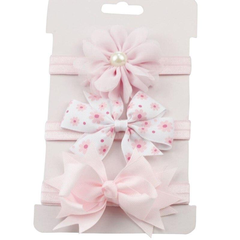 3 pc для маленьких девочек мальчиков упругой цветок оголовье Детские узкие эластичные бантом резинка для волос
