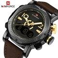 2017 homens de luxo da marca naviforce levou relógios digitais relógio de quartzo homem de couro dos homens esportes militares relógio de pulso relogio masculino