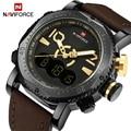 2017 naviforce marca de lujo de los hombres led digital relojes de hombre de cuero del cuarzo reloj de los hombres militar deportes reloj de pulsera relogio masculino