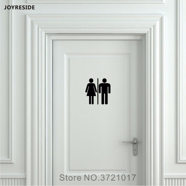 JOYRESIDE Unisex Restroom Bathroom Sign Toilet Door Wall Decal Vinyl Sticker  Decor Peel And Stick Home