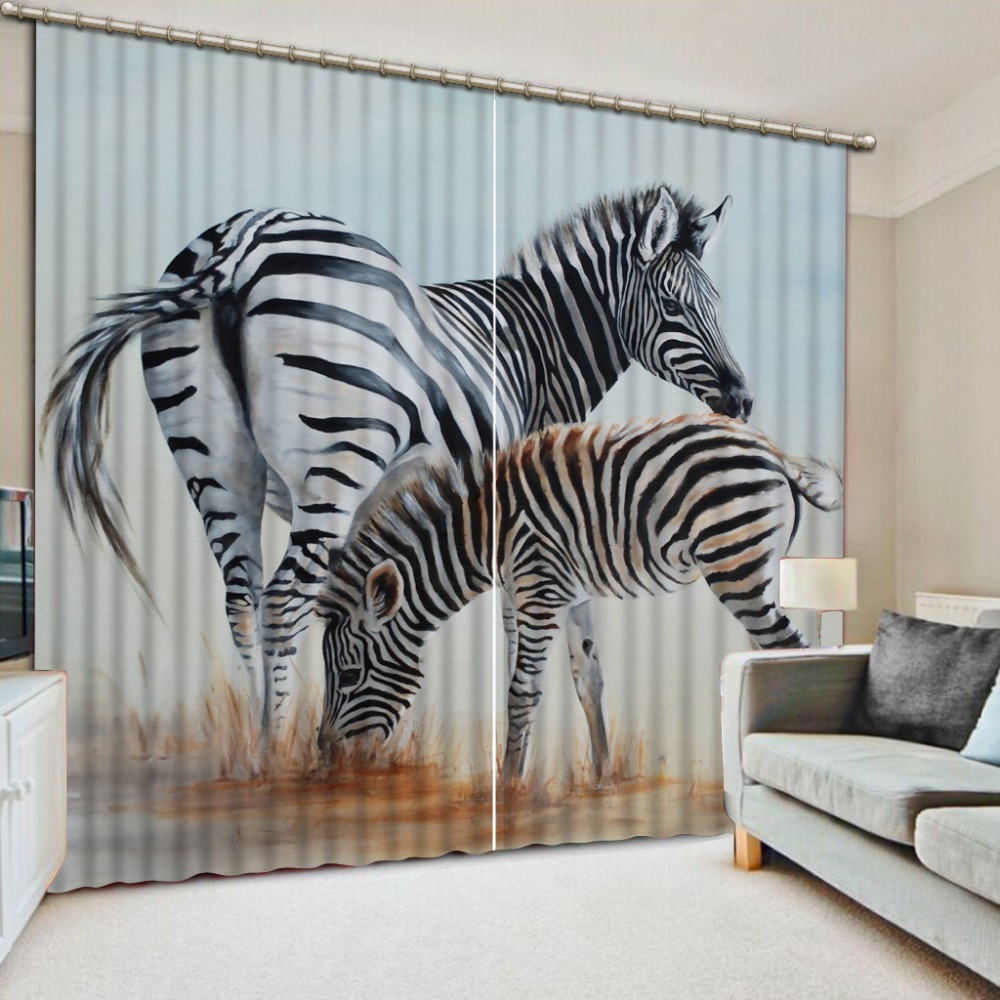 Modern blackout curtain zebra 3d Curtains Photo Bedroom Living room Window Kids room Curtains