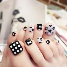 summer sweet fake toenails acrylic full cover nail tips false nail art with glue artificial pre