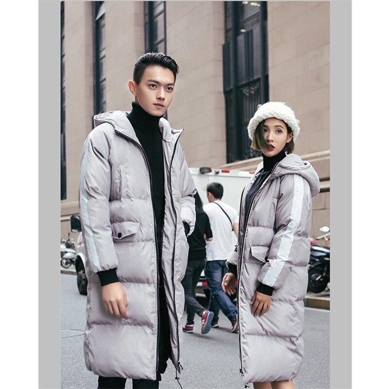 Мужские зимние куртки 2018 брендовая одежда длинное теплое пальто мужской топ с капюшоном парки мужской женская мода одноцветное пальто тепл...