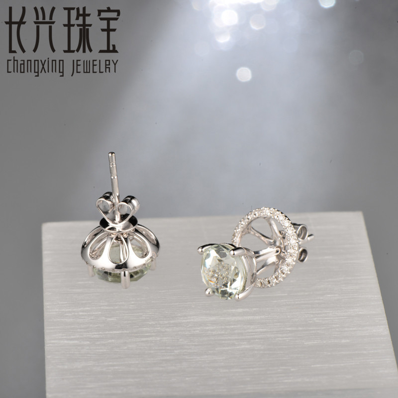 Caimao Jewelry 18KT White Gold 6x8mm Oval Cut 2.16ct Pink Tourmaline & 0.30ct Diamond Engagement Earrings free shipping 7