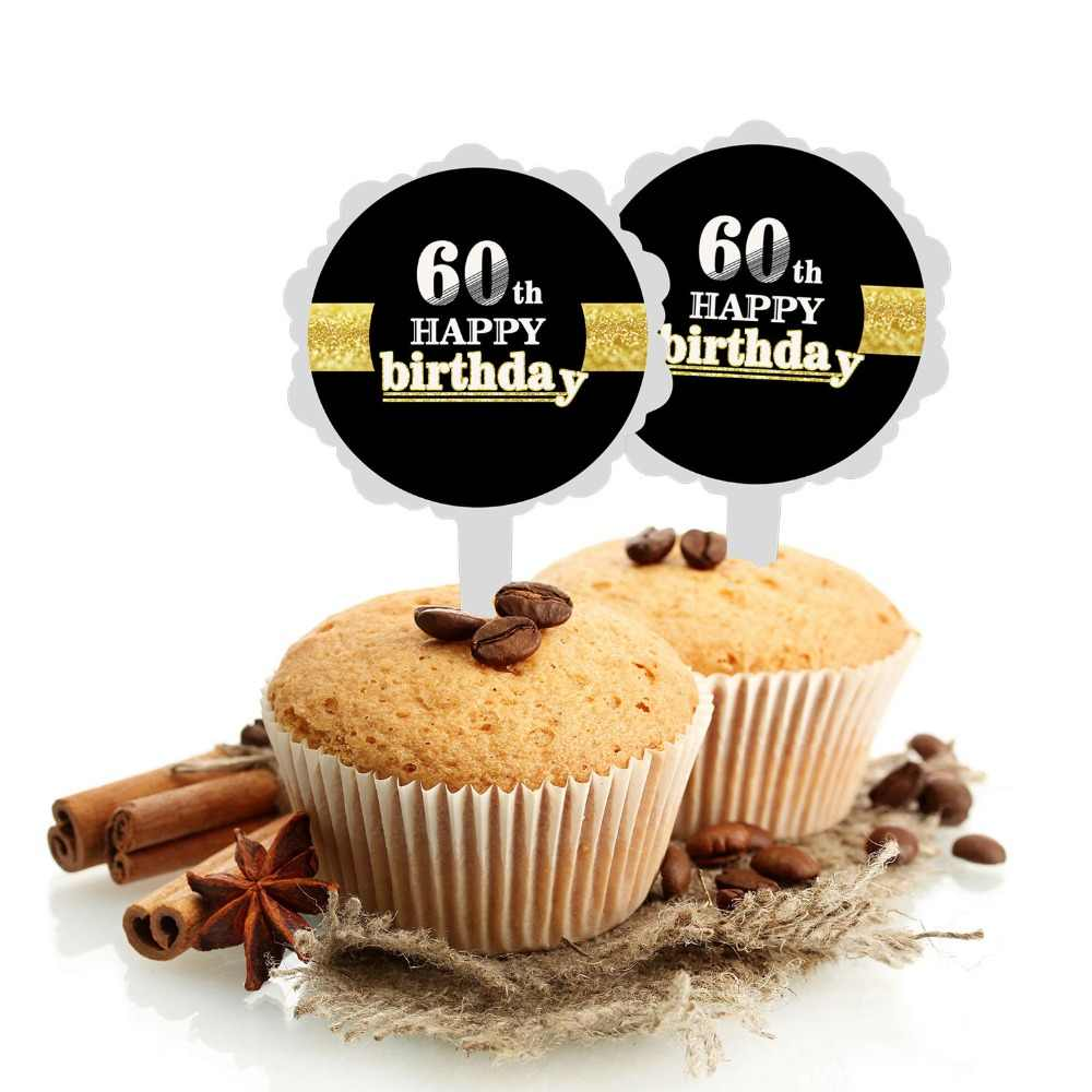 6pcs Black Gold Happy Birthday Cake Topper 18 21 30 40 50