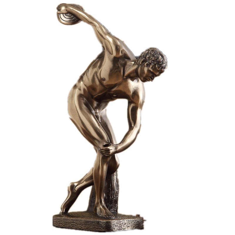 Discobolus Athlete Bust Plaster Statue Copper+Resin Colophony Crafts Sketch Teaching Collectible Decorations L1762