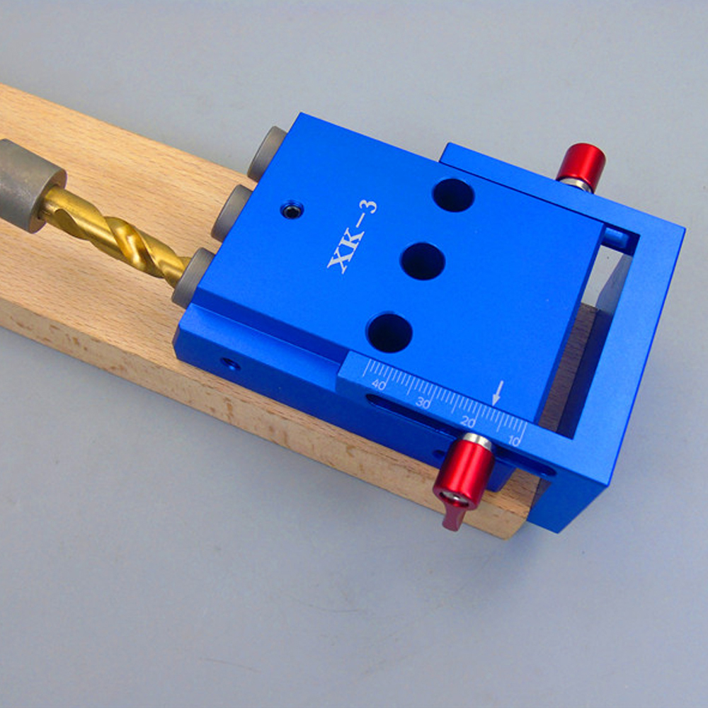 Aletler'ten El Aleti Setleri'de Üç Delikli Alüminyum Alaşımlı Eğik Delik Jig Kiti Sistemi için Ahşap Çalışma Yumruk Bulucu 9.5mm Zımba Cep Aracı seti title=