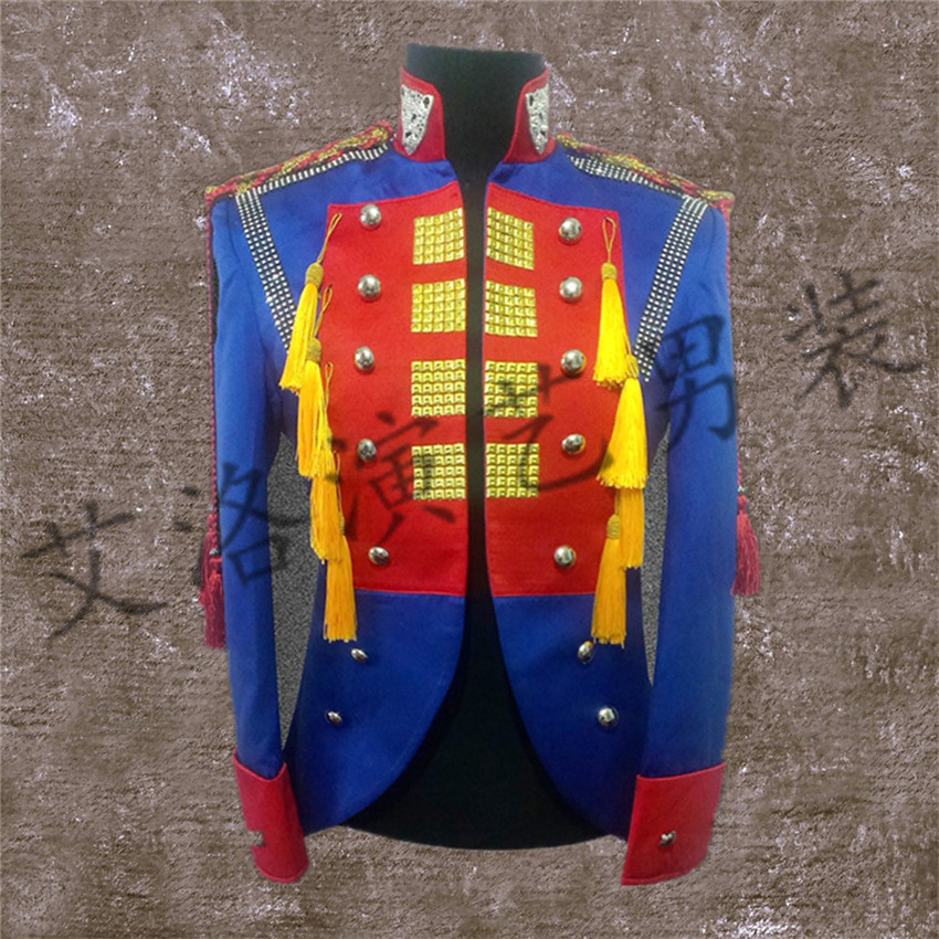 2017 new male singer DJ nightclub guests right Zhi-Long GD same paragraph Slim red and blue stitching costumes Men's palace coat