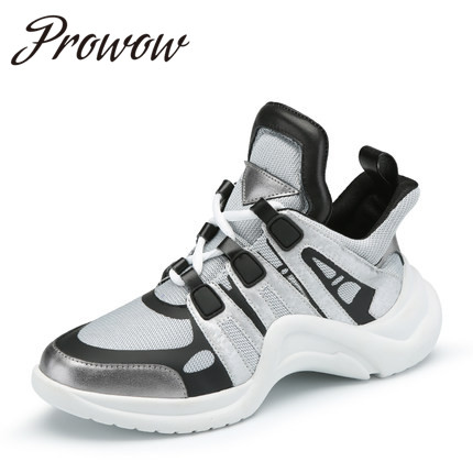 Prowow New Genuine Leather Breathable Casual Shoes Coomfortable Lace Up Increasing Height Heel Shoes Women Branded