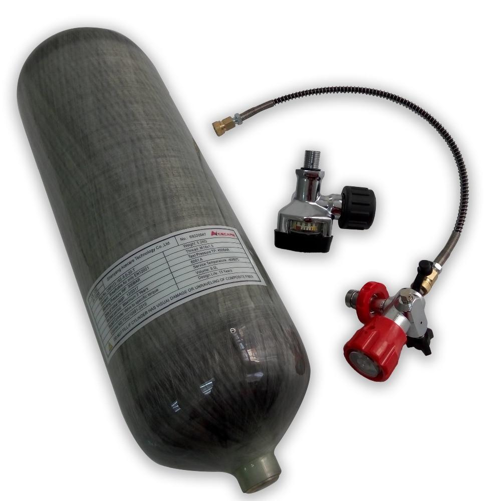 AC309201 Full Set 9L Scuba Diving Bottles Carbon Fiber Cylinder & Valve & Fill Station 300bar 4500psi Paintball Pcp Gun -M