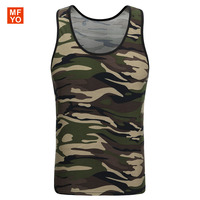 Men Army Military Tank Tops Camo Low Cut Camouflage Vest Top O Neck Sleeveless Navy Green