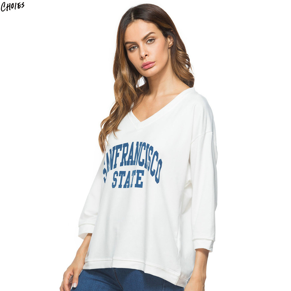207c0143af575 White Letters Print Women Sweatshirt Autumn Drop Shoulder V Neck Three  Quarter Sleeve Casual Loose Oversized Pullover Top-in Hoodies & Sweatshirts  from ...