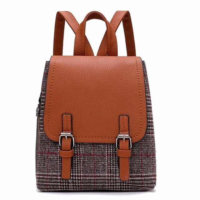 c54a1bdbd0 Fashion Women Backpack 2018 Vintage School bag Teenage Girl Designer Hit  color Shoulder bag High Quality