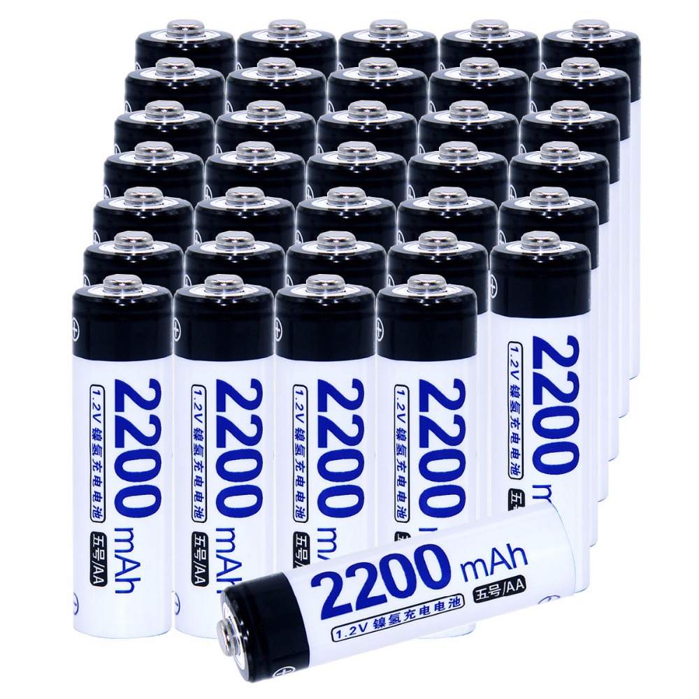 Real capacity! 35 pcs AA 2200mah 1.2V NIMH AA rechargeable batteries for camera razor toy remote control flashlight 2A