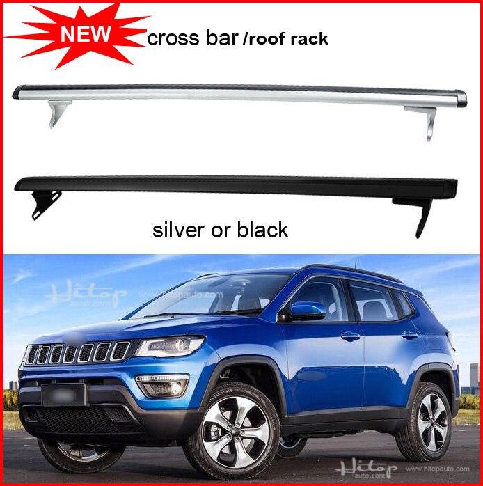 Nouveauté barres de toit bagages barre transversale barre transversale pour jeep boussole 2011-2018, argent et noir, offre spéciale. Asiatique livraison gratuite.