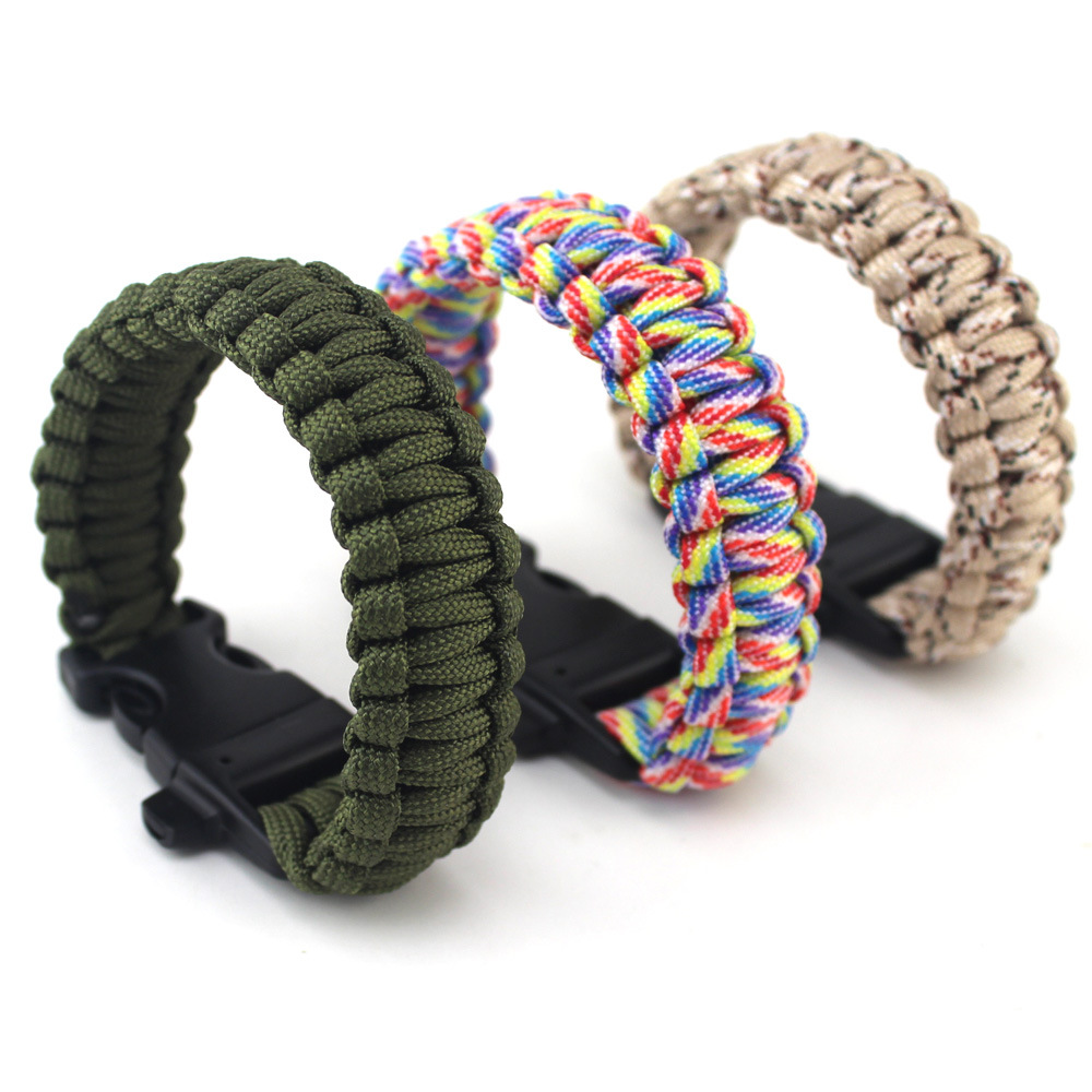 Survival hand rope outdoors self-defense field emergency bracelet with a survival whistle quality seven-core umbrella hand-woven 4 pcs cowhide rope hand bracelet