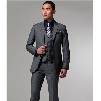 High Quality Two Buttons Dark Grey Groom Tuxedos Notch Lapel Groomsmen Men Wedding Suits Prom Clothing (Jacket+Pants+Vest