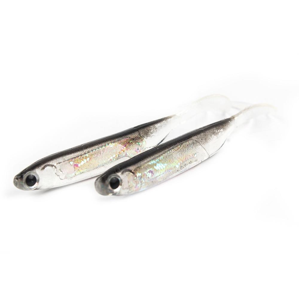 5Pcs/lot Fishing Soft Bait 7CM 7.5CM 1.7G 2.3G 2.7G T Tail fish Fishing Lures Rainbow Color Sequin Swing Fishing Spinner Bait 4