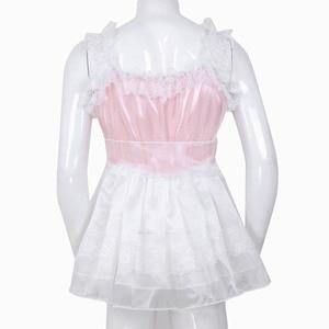 Image 4 - iiniim Adult Baby Mens Sissy Babydoll Crossdress Ruffled Lace Tulle Dress with Waist Belt Gay Male Night Club Costume Mini Dress