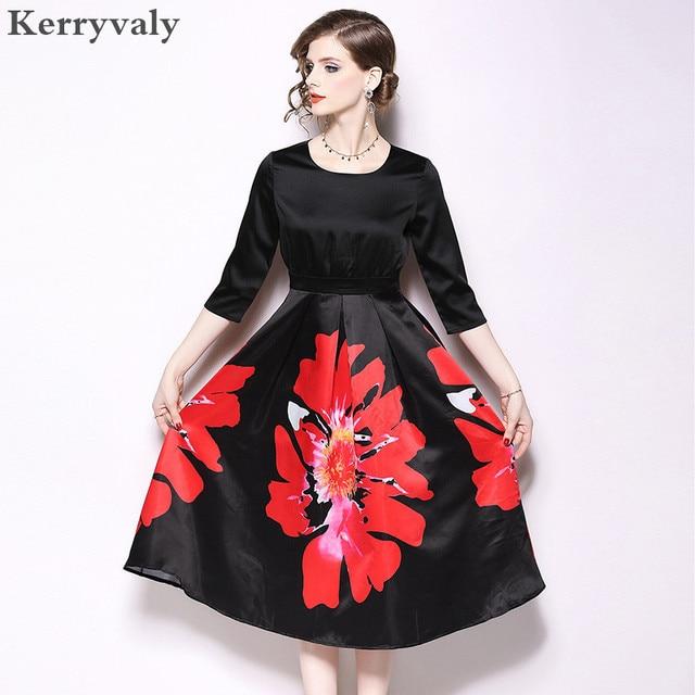 07f38390b Autumn Floral Printed Glitter Elegant Dress Vestido Invierno Mujer 2019  Large Pendulum Midi Party Dress Dames Jurken K6619