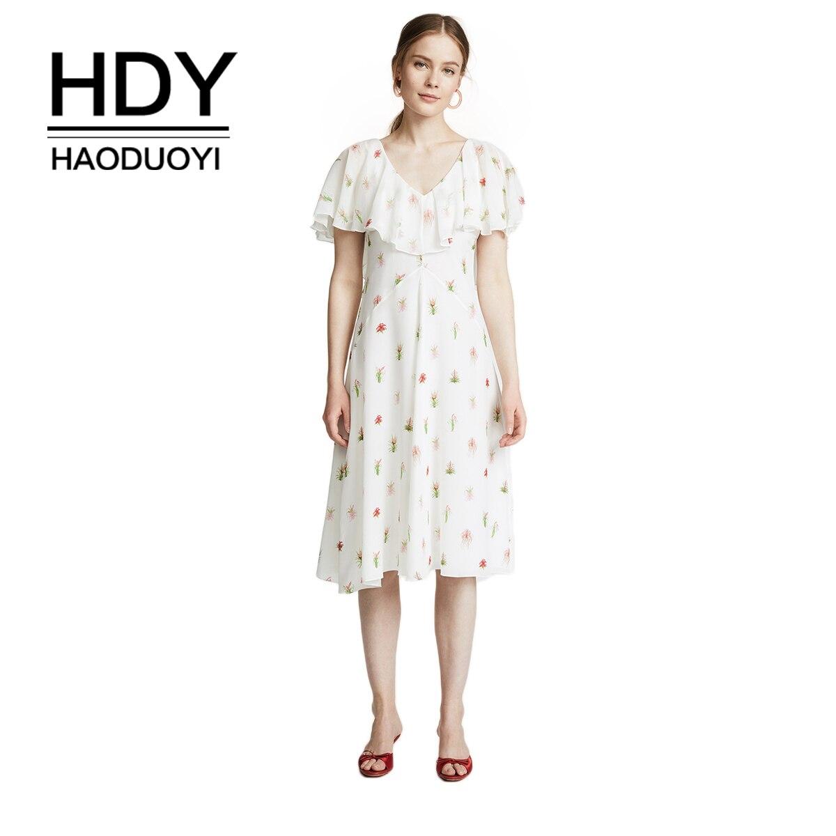 HDY Haoduoyi короткий комбинезон с цветочным принтом, белое сексуальное шифоновое платье с открытой спиной, оборками, пэчворк, v-образный вырез, к...