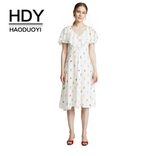 HDY Haoduoyi Summer Beach Floral Print White Sexy Backless Chiffon Dress Ruffles Patchwork V Neck Short Sleeve Midi A-line