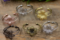 10pcs/Lot Flower Antique Bronze/Gold/Silver/Black Bracelet Vintage Bangle Jewelry Accessories
