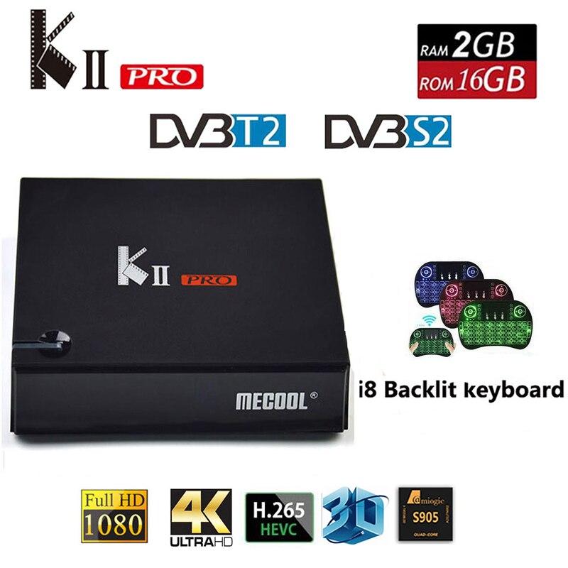 MECOOL KII PRO Android 7.1 Smart TV Box DVB S2 DVB T2 2GB + 16GB 4K mediaspeler Dual wifi Ondersteuning CCCAM Clines Set Top Box-in Set-top Boxes van Consumentenelektronica op  Groep 1