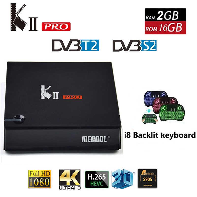 MECOOL KII PRO Android 7,1 Smart tv Box DVB-S2 DVB-T2 2 ГБ + 16 Гб 4 к медиаплеер двойной Wifi Поддержка CCCAM Clines телеприставка