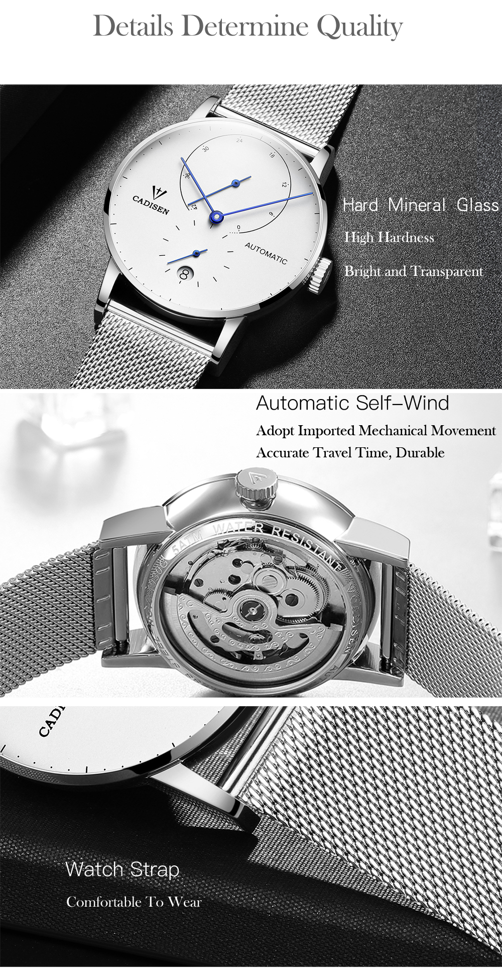 CADISEN Top Mens Watches Top Brand Luxury Automatic Mechanical Watch Men Full Steel Business Waterproof Fashion Sport Watches