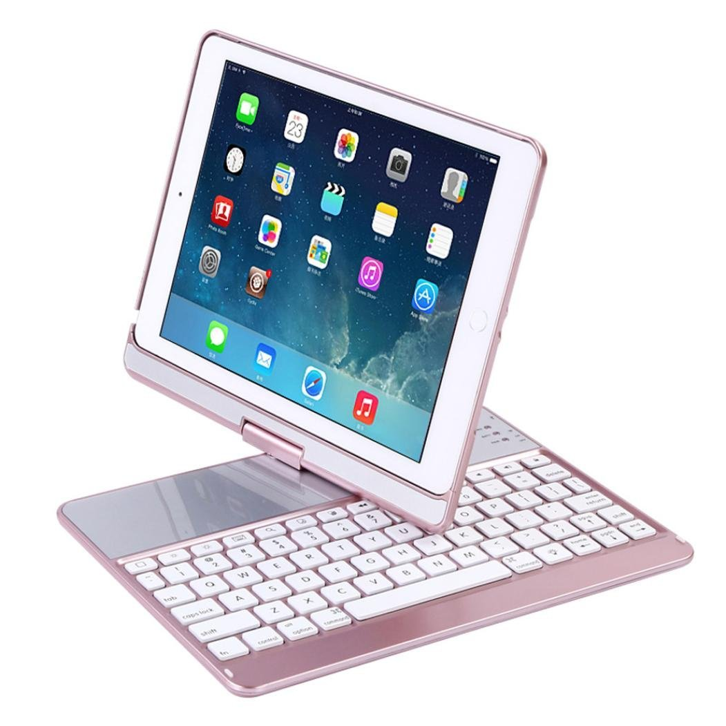 For IPad 9.7 2017 2018 Keyboard Case,360 Degree Rotation Wireless Bluetooth Keyboard Case for iPad Air 1 2  Case with bluetooth ultra slim 360 degree rotation russian hebrew spanish wireless bluetooth keyboard case for apple ipad mini 1 2 3 7 9 tablet