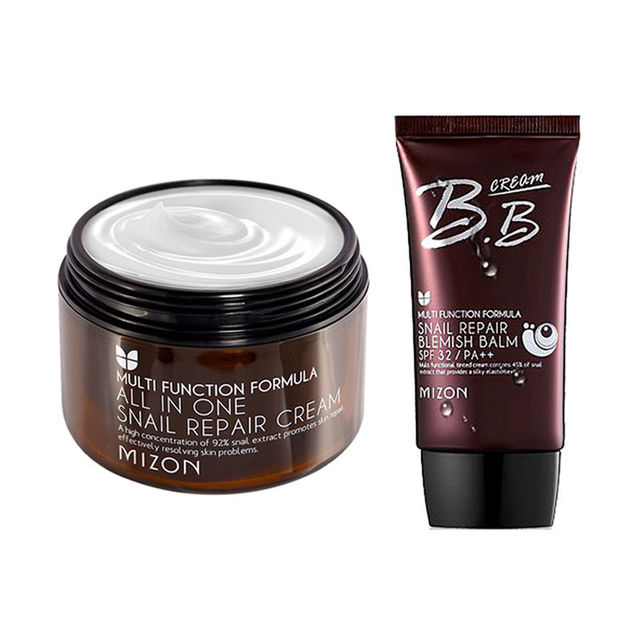 MIZON All In One Snail Cream 120ml [Super Size] + Snail BB (SPF32/PA++) 50ml Face Skin Care Facial BB Cream Korean Cosmetics