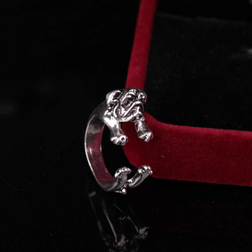 Cute Man's Animal Opening Adjustable Pug Dog Shape Ring Three Colors Optional