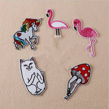 Newest Yak Unicorn Cat Bird Mushroom Patches Iron On Embroidered Patch For Clothing Sticker Badge Paste For Clothes Bag Pants(China)