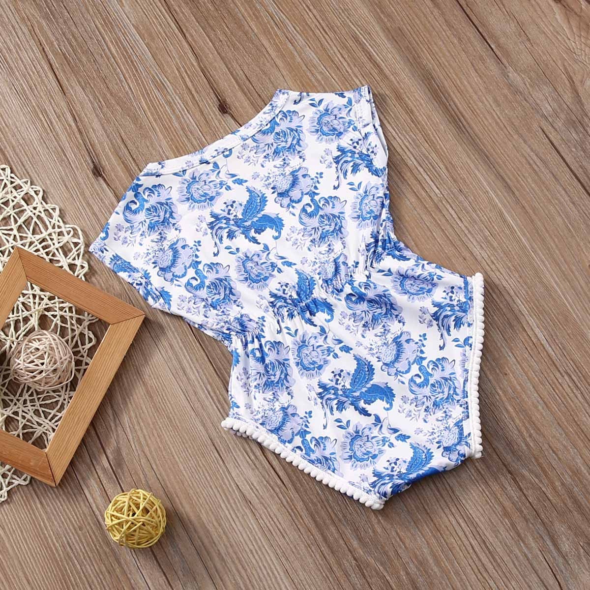cf141e7f65e1 Infant Newborn Baby Floral blue and white china Short Sleeve Bebes Girls  Romper Jumpsuit One Pieces Outfits-in Bodysuits from Mother   Kids on ...