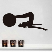 Woman With A Ball Fitness Exersice Gym Wall Decal Yoga Practicer Silhouette Vinyl Stickers Gym Home Decor Interior Design Murals